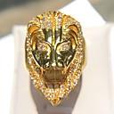 ราคาถูก แหวนผู้ชาย-สำหรับผู้ชาย คำชี้แจง Ring Cubic Zirconia 1pc สีทอง ทองแดง เลียนแบบเพชร ชุบทอง 14K Geometric Shape Rock คลับ เครื่องประดับ สไตล์วินเทจ Lion เท่ห์