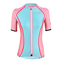 ราคาถูก ภาพวาดแอบสแตรก-ILPALADINO สำหรับผู้หญิง แขนสั้น Cycling Jersey สีฟ้า+สีชมพู ลายต่อ ขนาดพิเศษ จักรยาน Tops ขี่จักรยานปีนเขา Road Cycling ทน UV ระบายอากาศ Moisture Wicking กีฬา Elastane Terylene เสื้อผ้าถัก / ยืด