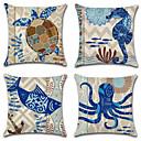 ราคาถูก บ้าน & สวน-4.0 ชิ้น ฝ้าย / ลินิน Pillow Cover, สัตว์ Nautical วินเทจ Mediterranean ปาหมอน