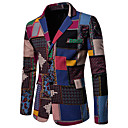 billiga Kostymer-Herr Plusstorlekar / EU / US-storlek Blazer, Geometrisk / Regnbåge Hakslag Bomull / Linne Regnbåge