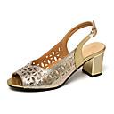 ราคาถูก รองเท้าส้นสูงผู้หญิง-สำหรับผู้หญิง รองเท้าแตะ ส้นหนา หนังเทียม ฤดูร้อนฤดูใบไม้ผลิ สีดำ / สีทอง