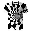 billige Hatter, capser og hodetørklær-Rund hals T-skjorte Herre - Geometrisk / 3D Hvit / Kortermet