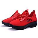 ราคาถูก รองเท้าผ้าใบเต้นรำ-สำหรับผู้หญิง รองเท้าเต้นรำ ถัก รองเท้าผ้าใบสำหรับเต้นรำ รองเท้าผ้าใบ ส้นแบน สีดำ / แดง / Performance / ฝึก