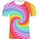 billige Joggeklær-Bomull Rund hals Store størrelser T-skjorte Herre - Stripet / 3D / Grafisk, Trykt mønster Rock / overdrevet Regnbue
