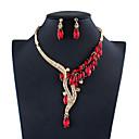 זול סט תכשיטים-בגדי ריקוד נשים כחול אדום אפור קריסטל סטי תכשיטי כלה גיאומטרי אופנתי אבן נוצצת עגילים תכשיטים לבן / אדום / כחול כהה עבור חתונה ארוסים 1set
