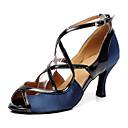 ราคาถูก รองเท้าแบบลาติน-สำหรับผู้หญิง รองเท้าเต้นรำ หนังเทียม ลาติน ส้น ส้นป้าน ตัดเฉพาะได้ ฟ้า / Performance / หนังสัตว์ / ฝึก