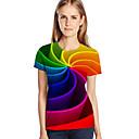 Χαμηλού Κόστους Γυμναστική, τρέξιμο και ρούχα γιόγκα-Γυναικεία Μεγάλα Μεγέθη T-shirt Κομψό στυλ street / Εξωγκωμένος Γεωμετρικό / 3D / Γραφική Στάμπα Ρουμπίνι