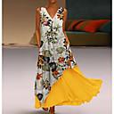 baratos -Mulheres Duas Peças Vestido Floral Decote V Longo