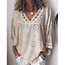 baratos Microscópios & Endoscópios-Mulheres Tamanhos Grandes Camisa Social Renda, Sólido Decote V Solto Branco