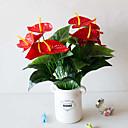 זול כלים לאפייה-1pc 18 ראש 5 גובה פרח סימולציה פרח גדול דקל כף יד אדום הדמיה משרד עיטור סימולציה צמח בונסאי פלסטיק פרח