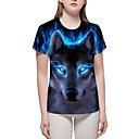 billige T-skjorter og singleter til herrer-T-skjorte Dame - Fargeblokk / 3D / Dyr, Trykt mønster Grunnleggende / overdrevet Blå XL