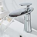 זול ברזים לחדר האמבטיה-חדר רחצה כיור ברז - מפל מים כרום עומד לבדו חור ידית אחת אחתBath Taps