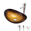 billiga Fristående tvättställ-Badrums sink / Badrumskran / Badrums Monteringssing Nutida - Härdat Glas Rektangulär Vessel Sink