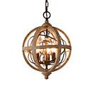 baratos Estilo Vela-3 luzes globo lustre de cristal do vintage / lâmpada retro de madeira para café bar luzes da sala de jantar / e12 / e14 sem lâmpada k9 cristal