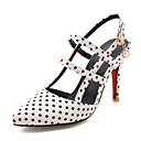 ราคาถูก รองเท้าแตะผู้หญิง-สำหรับผู้หญิง PU ฤดูร้อน วินเทจ / อังกฤษ รองเท้าส้นสูง ส้น Stiletto Pointed Toe หัวเข็มขัด ขาว / สีดำ / แดง / พรรคและเย็น