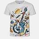 baratos Bouquets de Noiva-Homens Tamanhos Grandes Camiseta Estampado, 3D / Gráfico Algodão Decote Redondo Branco
