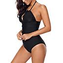 ราคาถูก สร้อยคอ-สำหรับผู้หญิง ชุดว่ายน้ำ Bodysuit ระบายอากาศ การว่ายน้ำ สีพื้น ฤดูร้อน