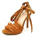 ราคาถูก รองเท้าส้นสูงผู้หญิง-สำหรับผู้หญิง รองเท้าแตะ ส้น Stiletto เปิดนิ้ว เย็บลูกไม้ หนังเทียม ไม่เป็นทางการ / หวาน วสำหรับเดิน ฤดูร้อน / ฤดูร้อนฤดูใบไม้ผลิ สีดำ / สีน้ำตาลอ่อน / ขาว
