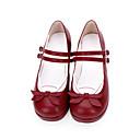ราคาถูก เสื้อผ้าประวัติศาสตร์และวินเทจ-สำหรับผู้หญิง รองเท้า Sweet Lolita รองเท้าส้นตึก รองเท้า ลายบล็อคสี 3 cm สีแดง หมึกสีน้ำเงิน หนัง PU ชุดฮาโลวีน