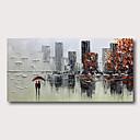 billige Abstrakte malerier-Hang malte oljemaleri Håndmalte - Abstrakt Abstrakte Landskap Moderne Inkluder indre ramme