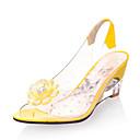 ราคาถูก รองเท้าแตะผู้หญิง-สำหรับผู้หญิง PU ฤดูร้อนฤดูใบไม้ผลิ Preppy / minimalism รองเท้าแตะ รองเท้าส้นตึก ที่สวมนิ้วเท้า สีเหลือง / แดง / ฟ้า / พรรคและเย็น