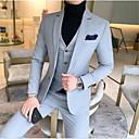 billiga Kostymer-Svart / Himmelsblå / Ljusblå Enfärgad Smal passform Bomull Kostym - Trubbig Singelknäppt 1 Knapp / kostymer