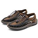 זול סנדלים לגברים-בגדי ריקוד גברים נעלי נוחות מיקרופייבר קיץ סנדלים חום / שחור אדום / לבן וכחול