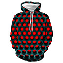 cheap Anime Costumes-Men's Plus Size Basic / Casual / Daily Hoodie - Geometric / Color Block / 3D Hooded Red XXXL