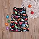 Χαμηλού Κόστους Βρεφικά φορέματα-Μωρό Κοριτσίστικα Βασικό Δεινόσαυρος Στάμπα Αμάνικο Βαμβάκι Φόρεμα Μαύρο / Νήπιο