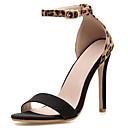 ราคาถูก รองเท้าแตะ & Loafersสำหรับผู้ชาย-สำหรับผู้หญิง รองเท้าแตะ ส้น Stiletto Synthetics หวาน / minimalism ตก / ฤดูร้อนฤดูใบไม้ผลิ สีดำ / ลายเสือ / ลายบล็อคสี
