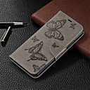 baratos Material de Protecção-Capinha Para Huawei Huawei Honor 8A / Honor 7A / Honor 7C(Enjoy 8) Carteira / Porta-Cartão / Com Suporte Capa Proteção Completa Sólido / Borboleta Rígida PU Leather