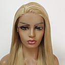povoljno Sintetičke perike s čipkom-Prednja perika od sintetičkog čipke Ravan kroj Minaj Stil Stepenasta frizura Lace Front Perika Zlatna Svijetlo zlatna Sintentička kosa Žene Otporan na toplinu / Žene Zlatna Perika Dug / Da