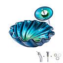billiga Fristående tvättställ-Badrums sink / Badrumskran / Badrums Monteringssing Nutida / Antik - Härdat Glas Rund Vessel Sink