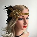 ราคาถูก เสื้อผ้าประวัติศาสตร์และวินเทจ-Great Gatsby ชาร์ลสตัน วินเทจ 1920s Flapper Headband สำหรับผู้หญิง เครื่องแต่งกาย ฮารด์แวร์ สีดำ / สีทองและดำ Vintage คอสเพลย์ ปาร์ตี้ Prom เสื้อไม่มีแขน