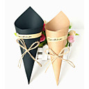 povoljno Pozivnice za vjenčanje-Taper Shape Kraft papir Naklonost Holder s Cinch kabela Kućanski sitnice / Milost Kutije / Kutija za pohranu - 50 kom.
