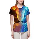 billige T-skjorter og singleter til herrer-Store størrelser T-skjorte Dame - Fargeblokk / 3D / Dyr, Trykt mønster Grunnleggende / overdrevet Blå XL