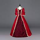 ราคาถูก เสื้อผ้าประวัติศาสตร์และวินเทจ-เจ้าหญิง Maria Antonietta สไตล์ลอรัล Rococo Victorian Renaissance หนึ่งชิ้น ชุดเดรส Party Costume Masquerade สำหรับผู้หญิง ลูกไม้ เครื่องแต่งกาย สีแดง Vintage คอสเพลย์ คริสมาสต์ Halloween