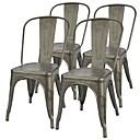 זול כיסאות למטבח ואוכל-סט של 4 - stackable קפה מודרני ביסטרו האוכל בצד כיסא בגימור מתכת האקדח