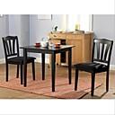 זול כיסאות למטבח ואוכל-3 חתיכת עץ אוכל להגדיר עם שולחן מרובע ו 2 כסאות בשחור