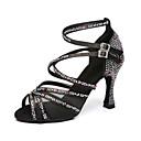זול נעליים לטיניות-בגדי ריקוד נשים נעלי ריקוד סטן נעליים לטיניות פאייטים / פרטים מקריסטל / קריסטל / ריינסטון עקבים עקב רחב סגול / אדום / ורוד ולבן / הצגה