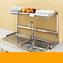 ราคาถูก ชั้นวางและที่แขวน-คุณภาพสูง กับ เหล็กกล้าไร้สนิม อุปกรณ์เสริมของตู้ สำหรับเครื่องทำอาหาร ครัว การเก็บรักษา 2 pcs