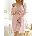 Χαμηλού Κόστους Υποστήριξη για Σπορ-Γυναικεία Με κοψίματα Sexy Μπέιμπι-ντολ & Σλιπ / Ρόμπα Πυτζάμες Μονόχρωμο / Κέντημα Ανθισμένο Ροζ L XL XXL / Ώμοι Έξω