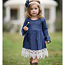 Χαμηλού Κόστους Φορέματα για κορίτσια-Παιδιά Κοριτσίστικα Συνδυασμός Χρωμάτων Δαντέλα Φόρεμα Βαθυγάλαζο