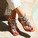 Χαμηλού Κόστους Γυναικεία Τσόκαρα & Μιουλ-Γυναικεία Σανδάλια Flat Sandal Heel Επίπεδο Τακούνι Ανοικτή μύτη Τεχνητό διαμάντι Φο Δέρμα Γλυκός Άνοιξη & Χειμώνας Σκούρο γκρι / Ασημί / Μαύρο / Άσπρο