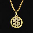 Χαμηλού Κόστους Κρεμαστά Κολιέ-Ανδρικά Γυναικεία Χρυσό Κρυστάλλινο Κρεμαστά Κολιέ Κολιέ Δήλωση Αλυσίδες Κουβανική σύνδεση Δολάρια Μοντέρνο Πανκ Ροκ Υπερμεγέθη Ζιρκονίτης Χρώμιο 24K Gold Plated Χρυσό 70 cm Κολιέ Κοσμήματα 1pc Για