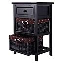 זול שולחנות-פינה-עץ שחור 1-מגירה שולחן צד השולחן עם 2 סלים אחסון