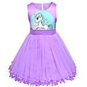 Χαμηλού Κόστους Παιδικά Αξεσουάρ Κεφαλής-Παιδιά Νήπιο Κοριτσίστικα Ενεργό Κομψό στυλ street Unicorn Κινούμενα σχέδια Αμάνικο Πάνω από το Γόνατο Φόρεμα Βυσσινί