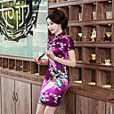 Χαμηλού Κόστους Ethnic & Cultural Κοστούμια-Ενήλικες Γυναικεία Κινέζικο Στυλ Cheongsam Για Πάρτι & Βραδινή Έξοδος Στολές Λέσχη 100% Πολυέστερ Πάνω από το Γόνατο Cheongsam