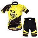 povoljno Biciklističke majice i kompleti-WOSAWE Muškarci Žene Kratkih rukava Biciklistička majica s kratkim hlačama Yellow / Black Bicikl Biciklistička majica Sportska odijela Prozračnost Pad 3D Ovlaživanje Quick dry Anatomski dizajn
