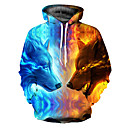 billige 3D-dynetrekk-Herre Grunnleggende Med hette Løstsittende Hoodie Jacket 3D
